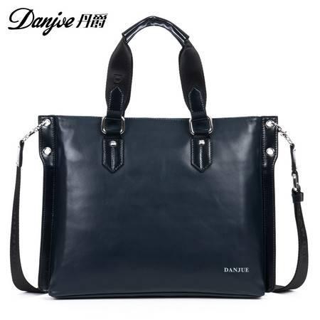 新款正品丹爵头层牛皮商务韩版手提单肩包真皮男包潮款男士皮包包D8742-1
