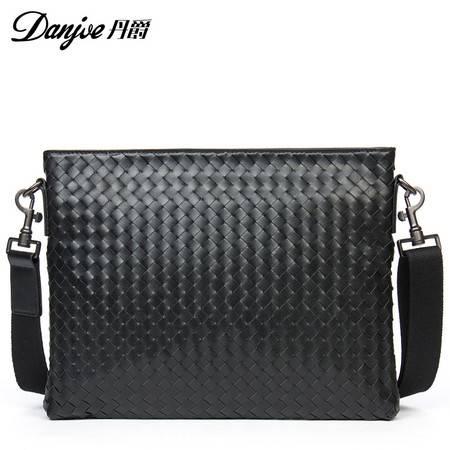 2016年新款时尚潮流编织牛皮款男士包包商务休闲包单肩斜挎包D8059-2