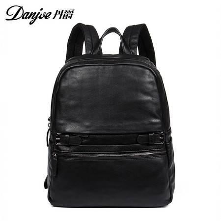 丹爵 丹爵(DANJUE)新款欧美时尚牛皮男士双肩包经典黑色旅行背包193-1