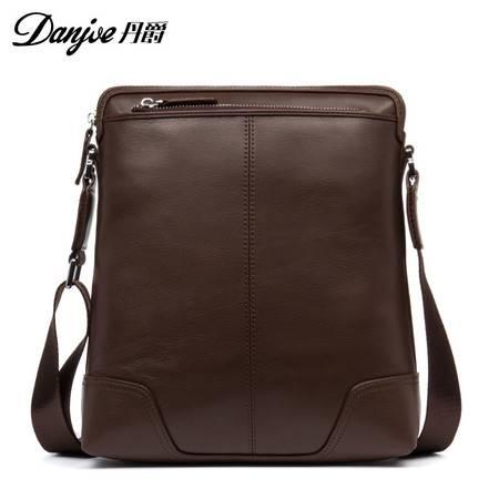丹爵  丹爵(DANJUE)新款男包 头层牛皮竖款单肩包 商务休闲斜挎包 男士出行背包D201-4
