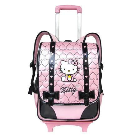 韩版凯蒂猫儿童拉杆书包女小学生女双肩包3-6年级三轮拉杆箱减负透气书包 可爱公主