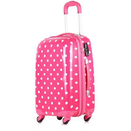 粉红色波点拉杆箱20寸女生行李箱万向轮旅行箱密码箱包学生可爱箱子
