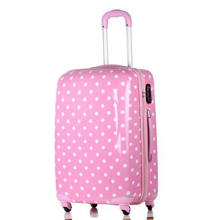 波点旅行箱万向轮拉杆箱可爱圆点行李箱女卡通登机箱24寸