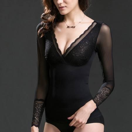 爱の优体轻慕蕾丝网纱V领性感塑形塑腰美体长袖塑身衣束身衣