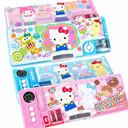 Hello Kitty 凯蒂猫削笔笔盒KT猫塑料指南针铅笔盒