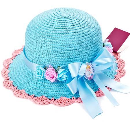 迪士尼儿童宝宝帽子春秋夏季太阳帽女童遮阳帽公主小孩草帽沙滩帽