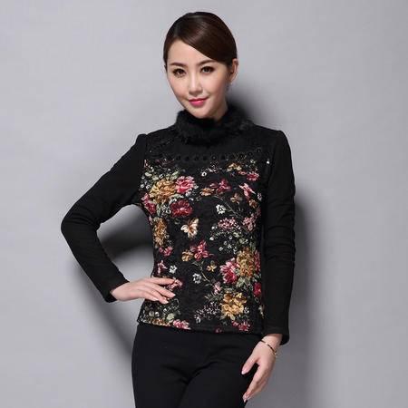 施悦名 蕾丝 印花 秋冬欧美新款大码女装长袖t恤印花修身显瘦上衣打底衫 JSC0395