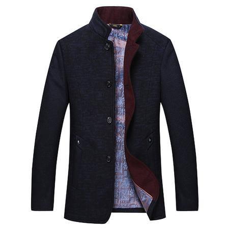 汤河之家 羊毛 纯色 新款中年男士毛呢大衣 秋冬休闲外套 DA16811