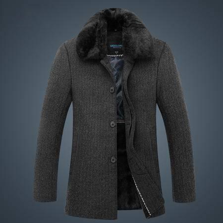 汤河之家秋冬新款中老年大衣商务休闲爸爸装大毛领保暖外套 SQL8865