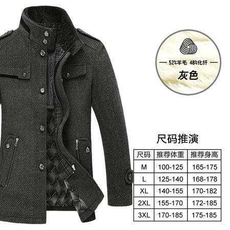 汤河之家秋冬新款男士羊毛呢大衣风衣中长款立领商务男装外套 SQL8820