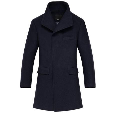 汤河之家秋冬爆款羊毛呢大衣男中长款修身韩版立领风衣男羊绒男装外套 CH1498