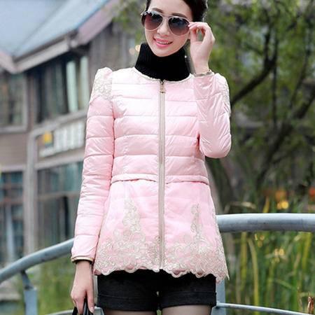 施悦名秋冬新款韩版女装修身蕾丝学生羽绒棉服女短款女外套 XYY10187