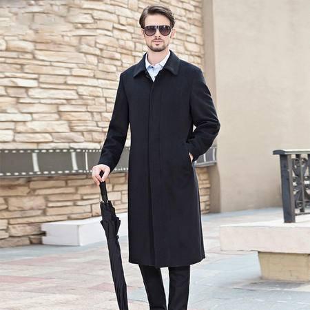 汤河之家冬新款加长款羊毛呢大衣男装呢子翻领外套修身披风衣