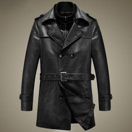 汤河之家冬新款中年男士休闲翻领双排扣加绒皮风衣大衣男式pu皮衣