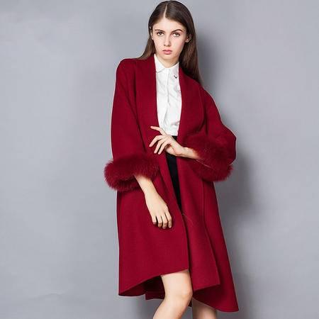 施悦名冬新款高端系带双面羊绒毛呢大衣狐狸毛袖口中长款外套女