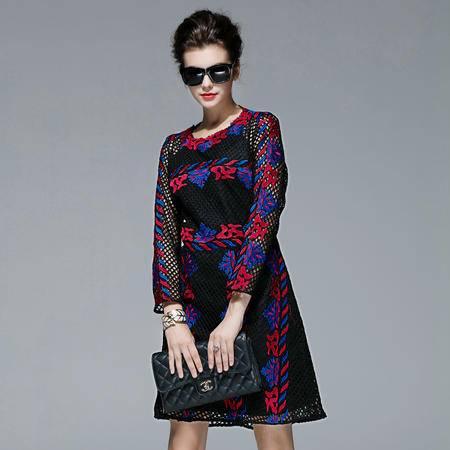 施悦名冬高端品质华伦重工绣花长袖网布连衣裙