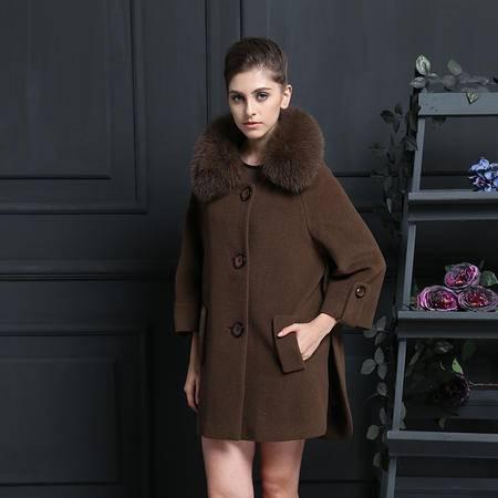 施悦名冬新款女式毛领羊毛呢大衣外套