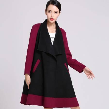 施悦名冬呢大衣风衣女款羊绒羊毛呢子大衣拼色羊绒呢大衣