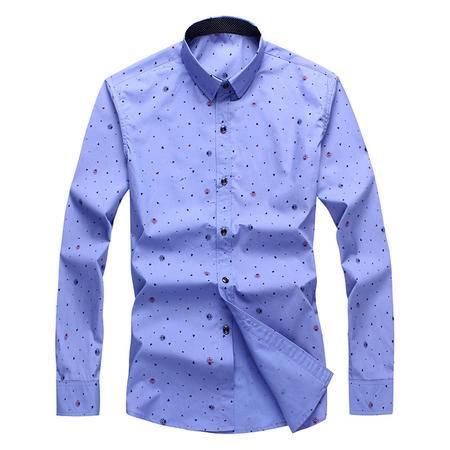 汤河之家新款波点潮 亮色撞色主义上衣 男士秋冬抗皱修身长袖衬衫
