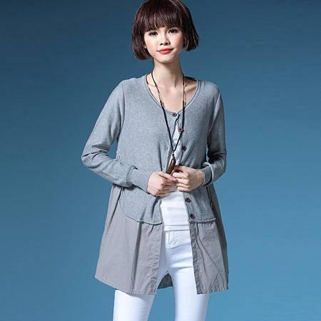 施悦名秋冬女式中长款拼接羊毛衫 圆领单排扣长袖修身显瘦女式羊毛衫