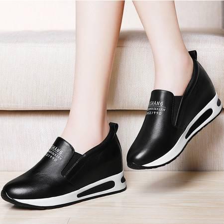 施悦名贝壳鞋头层牛皮圆头低帮鞋深口内增高女鞋防水台女鞋