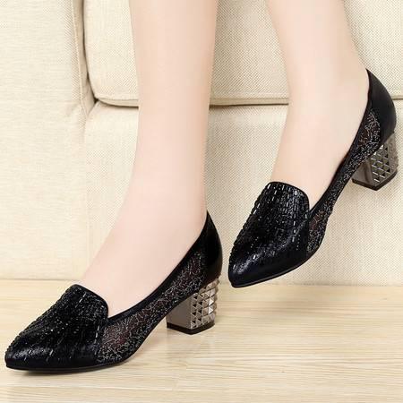 施悦名时尚网纱女鞋 浅口中跟鞋 尖头单鞋子