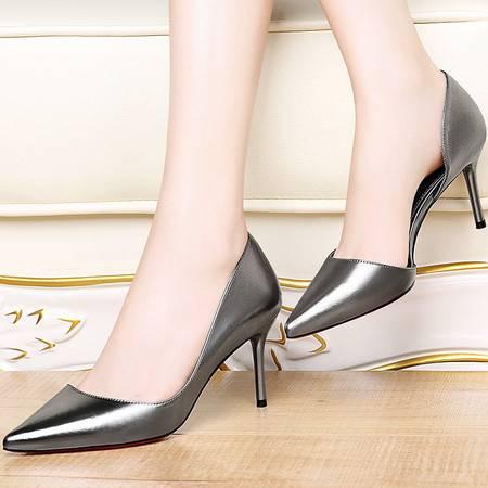 施悦名 时尚女鞋尖头细跟布面