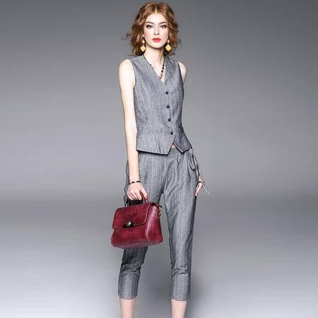 施悦名2016秋冬新款女装欧美套装 无袖T恤+铅笔裤两件套