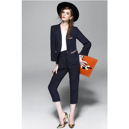 施悦名职业装亚麻撞色口袋女薄款小西服七分裤小脚裤OL时尚套装