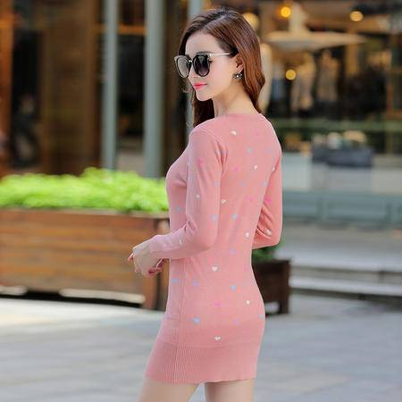 施悦名2016秋冬新款韩版时尚中长款纯色爱心套头打底衫女式外套