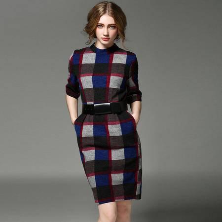 施悦名2016冬季新款女装格纹V型镂空系腰带羊毛呢连衣裙