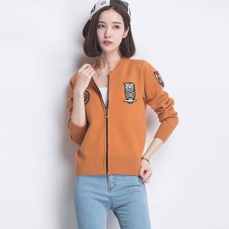 施悦名2016新款韩版纯色羊毛开衫外套 修身绣花女装短外套