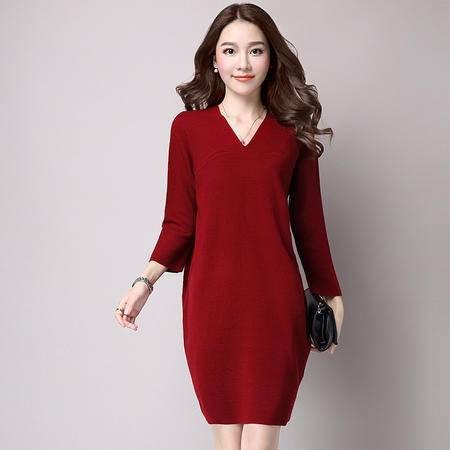 施悦名2016秋冬新款V领时尚女装 韩版宽松七分袖中长款套头毛衣
