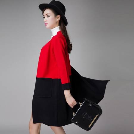 施悦名秋冬季新品2016韩版时尚两色中长款显瘦九分袖羊毛外套