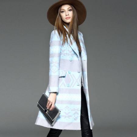 施悦名冬装毛呢外套欧美几何图案双排扣羊毛呢大衣