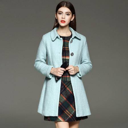 施悦名2016秋冬女式外套欧美大牌修身羊毛呢中长款大衣
