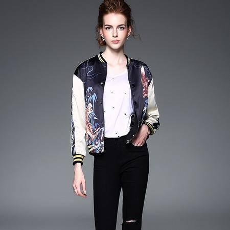施悦名老虎纹印花夹克时尚个性女外套