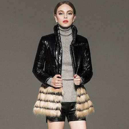 施悦名新款女装毛毛拼接立领羽绒服加厚外套女