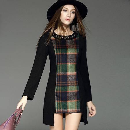 施悦名2016秋冬新款女装 重工钉珠拼接格子长袖连衣裙