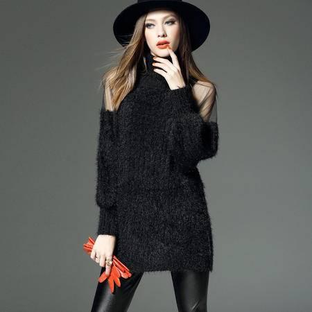 施悦名秋冬新款针织衫 欧美高端网纱拼接露肩高领套头毛衣
