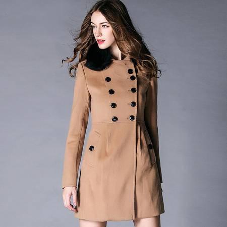 施悦名秋冬新款 狐狸毛领羊绒大衣女款中长呢子外套显瘦