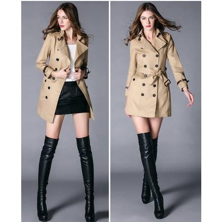施悦名女装新款 时尚风衣中长款女士修身外套潮 气质百搭精品