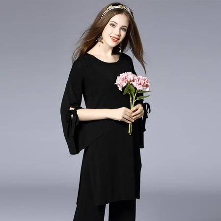 施悦名2016新款复古圆领修身人造丝黑色阔腿裤两件套长款套装
