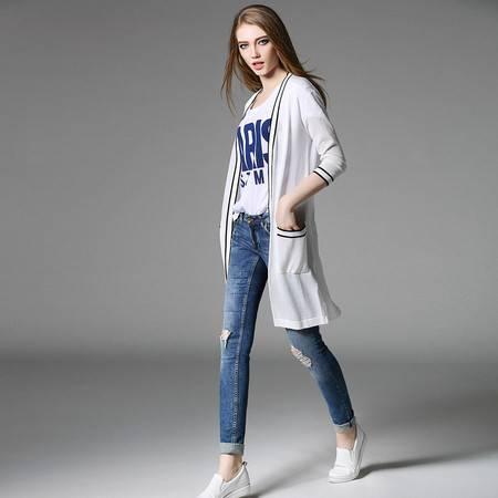 施悦名薄款针织衫中长款开衫外套大码女装 空调衫防晒