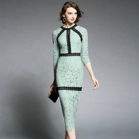 施悦名新款蕾丝镂空中长裙修身显瘦连衣裙
