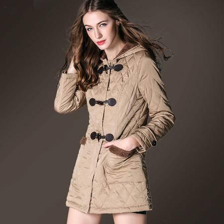 施悦名欧美大码牛角扣棉衣中长款女连帽 羊羔毛棉服外套 高端女装
