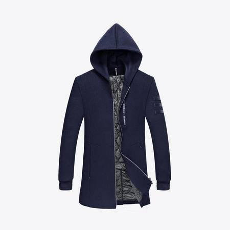 汤河之家2016新品男士毛呢大衣中长款男装连帽羊毛呢外套风衣呢子大衣