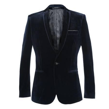 汤河之家 金丝绒平绒西服 韩版修身小西装时尚休闲外套