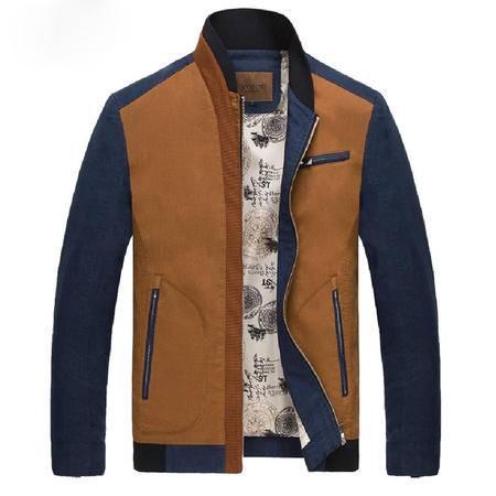 汤河之家2016男夹克春装新款韩版修身亚麻薄外套拼色男式夹克