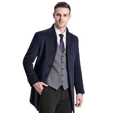 汤河之家秋冬新款男式毛呢大衣男中长款韩版外套呢子风衣男装